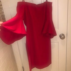 Cherry red sheath with bell sleeve